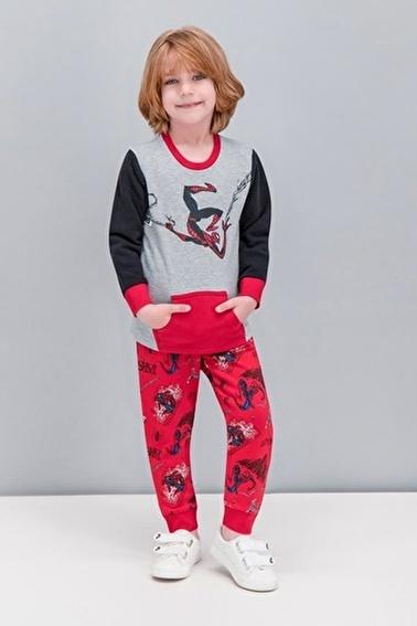 Spider-Man Spider Man Lisanslı Siyah Erkek Çocuk Kanguru Cepli Eşofman Takımı Gri